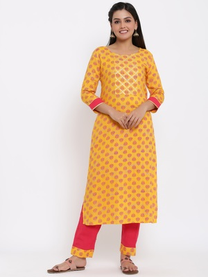 Ardozaa Womens Rayon Buti Print Straight Kurta Pant Set (Yellow)