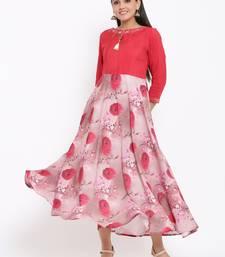 Ardozaa Womens Chanderi Printed Flared Gown (Pink)