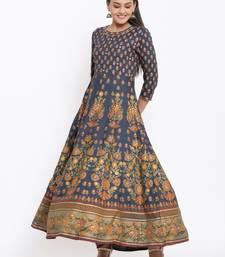 Ardozaa Womens Rayon Buti Print Flared Gown (Blue)