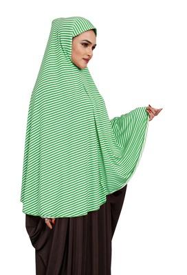 JSDC Women Strips Printed Stitched Organic Jersey Abaya Hijab Without Sleeves