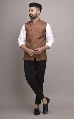 Brown plain jute nehru-jacket
