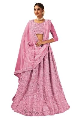 Baby Pink Embroidered Engagement Lehenga Choli