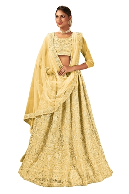 Gold embroidered net semi stitched lehenga