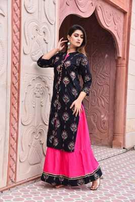 Shopping Factory Designer Premium Rayon Fabric Printed & Add Work  Kurti With Skirt