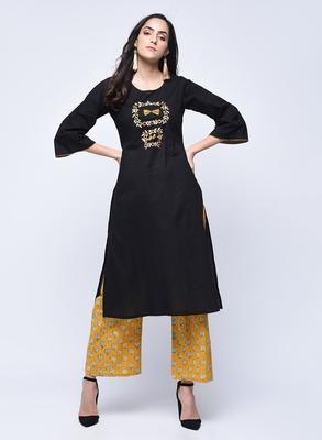 Black embroidered cotton long-kurtis