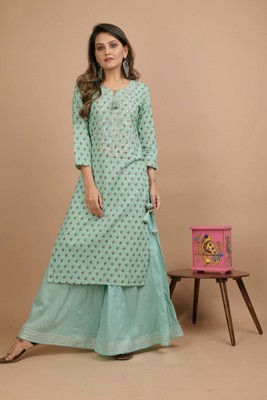 Turquoise printed cotton salwar