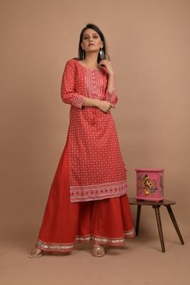 Red printed cotton salwar