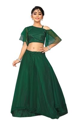 Kids Green Full Stichhed Lehenga Choli For Girls