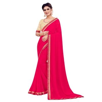 Pink plain chiffon saree with blouse
