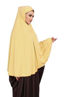 JSDC Women Modest Wear Strips Printed Stitched Organic Jersey Abaya Hijab Without Sleeves