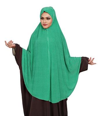 JSDC Women Polka Dot Printed Organic Jersey Abaya Hijab