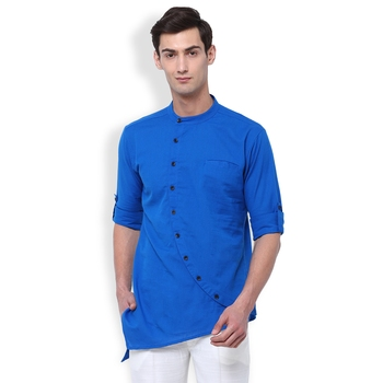 Svanik Blue Blended Solid Men's Asymmetric Kurta