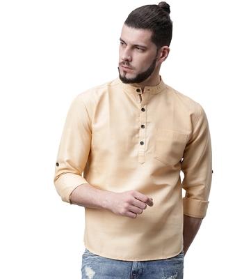 Svanik beige Blended Solid Men's Casual Short Kurta