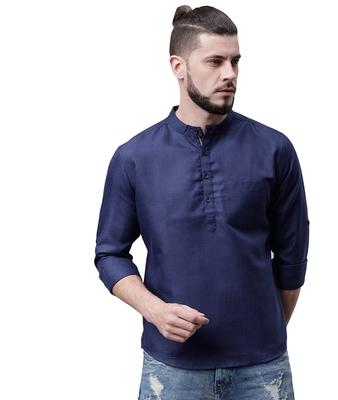 Svanik Navy Blue Blended Solid Men's Casual Short Kurta