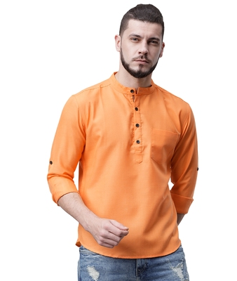 Svanik Orange Blended Solid Men's Casual Short Kurta