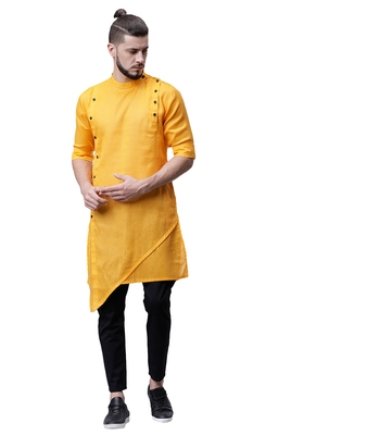 Svanik Yellow Blended Solid Men's Asymmetric Kurta