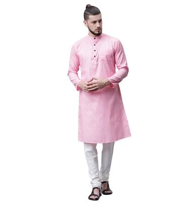 Svanik Pink Blended Solid Men's Classic Knee Length Kurta