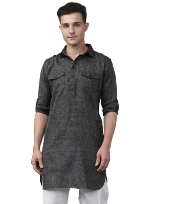 Svanik Black Blended Solid Men's Fashion Pathani Kurta
