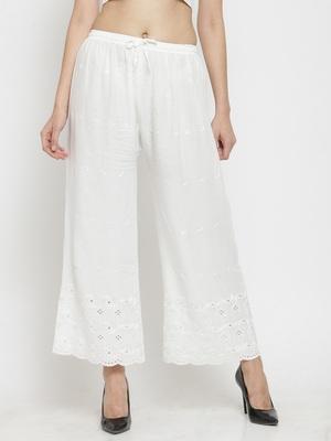 White embroidered rayon palazzo-pants