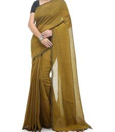 Yellow Weaving Work Cotton Handloom Saree With blouse peice