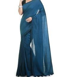 Blue Weaving Work Cotton Handloom Saree With blouse peice