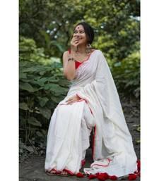 White Weaving Work Cotton Handloom Saree With blouse piece