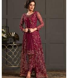 Red embroidered net salwar