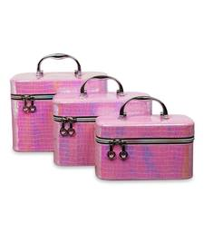 Pink  jewellery box with compact mirror