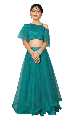 Kids Blue Silk With Net Lehenga Choli For Girls
