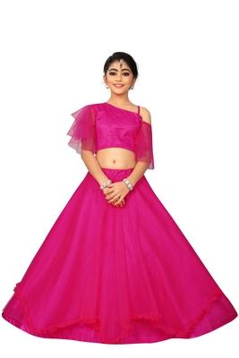 Kids Rani Pink Net With Silk Lehenga Choli