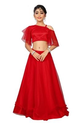 Kids Red Wedding Wear Lehenga Choli For Girls