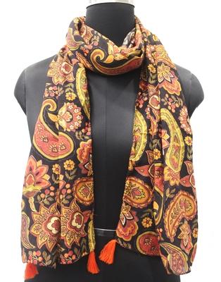 DesiButik Trends Appealing Muslin Fabric Black Printed women scarf/Stoles With Tassels