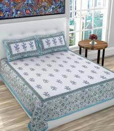 Cotton Floral Print Queen Size Bed Sheet for Double Bed with 2 Pillow Covers Set (White, Blue)