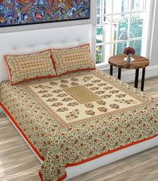 Cotton Floral Print Queen Size BedSheet for Double Bed with 2 Pillow Covers Set (Orange)
