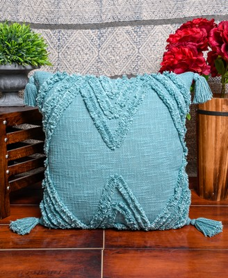 """Cotton  Greenish Blue Tribal Boho Shaggy Pattern with Tassel for Home Decorative 18"""" X 18"""" Inches"""