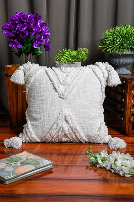"""Cotton White Tribal Boho Shaggy Pattern with Tassel for Home Decorative 18"""" X 18"""" Inches"""