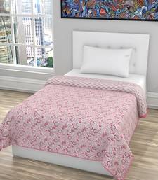 Poly Cotton Block Printed Quilt Gudari Ralli Single Reversible AC Dohar Blanket (Size: 135*220 CM, Pink)