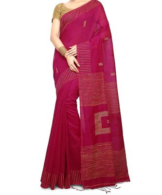 Pink Ghicha Work Cotton Silk Box Handloom Saree With blouse piece