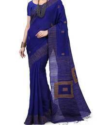 Blue Ghicha Work Cotton Silk Box Handloom Saree With blouse piece