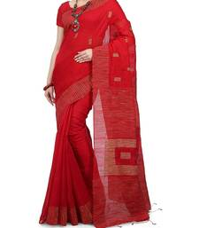 Red Ghicha Work Cotton Silk Box Handloom Saree With blouse piece