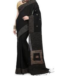 Black Ghicha Work Cotton Silk Box Handloom Saree With blouse piece