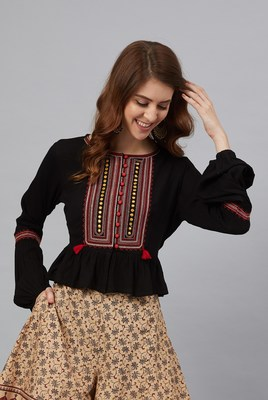 Juniper Black Rayon Crepe Embroidered Peplum Crop-Top