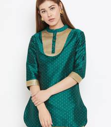 Olive printed silk tunics