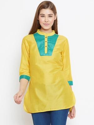 Yellow printed silk tunics