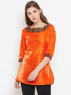Orange embroidered silk tunics