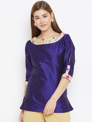 Navy-blue embroidered silk tunics