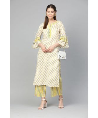 Myshka Women's Multi Cotton Printed Full Sleeve Round Neck Casual Kurta Palazzo Set