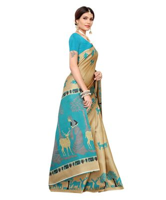 Beige Art Silk Printed Saree With Blouse For Women