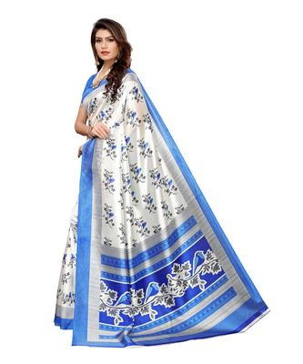 White Art Silk Printed Saree With Blouse For Women