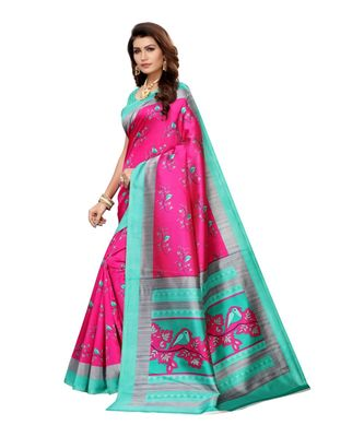 Blue Art Silk Printed Saree With Blouse For Women